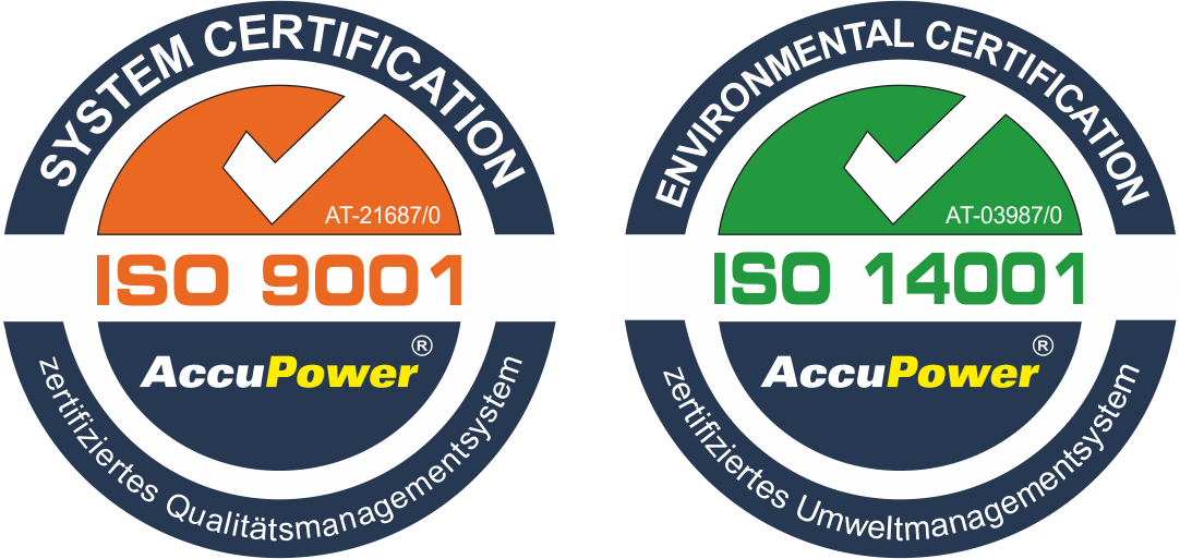 ISO 9001 und ISO 14001 Logos mit AccuPower