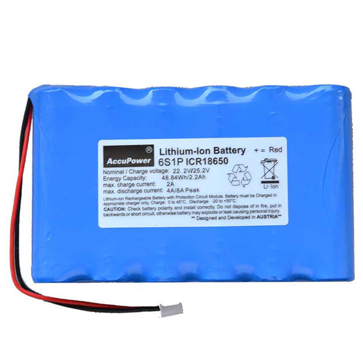 AccuPower Lithium Akku 6S1P 22,2V 2,2Ah 48,40Wh