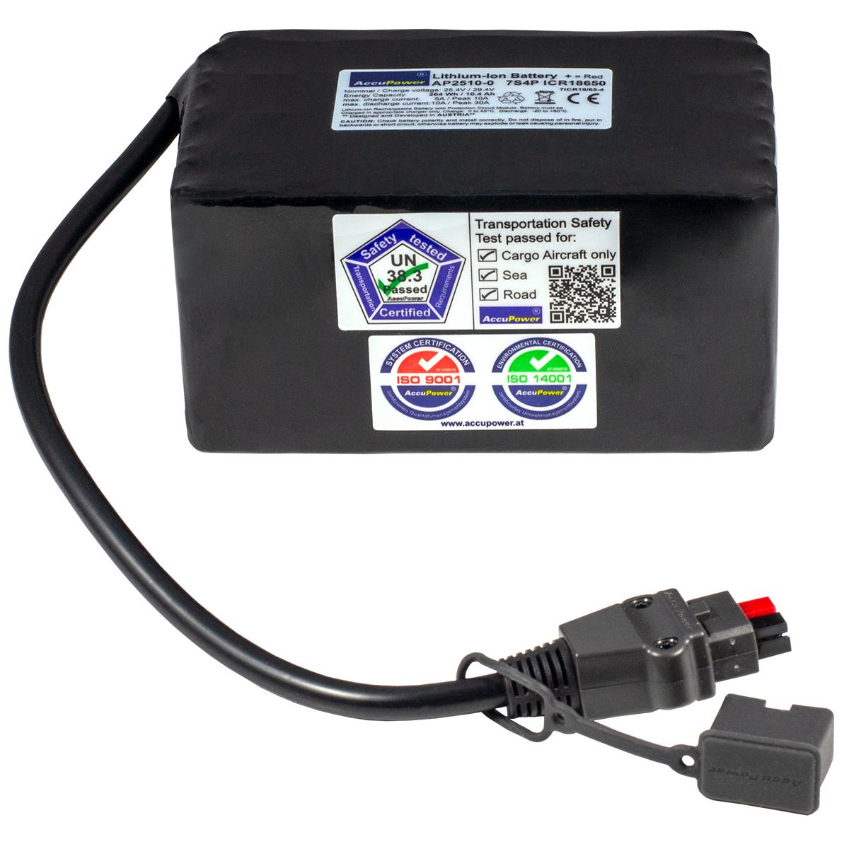 AccuPower Lithium Akku 7S4P 25,4V 10,4Ah 264Wh